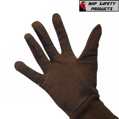 12 Pairs Mcr Safety Brown Cotton Jersey Work Gloves Large