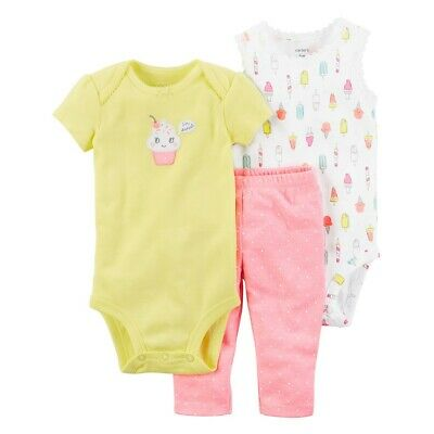 Carters Baby Girl 3 9 Months Cupcake Bodysuit Pant Set Clothes Short Sleeve  - Girl Carters Cupcake