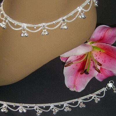 Fußkettchen mit Glöckchen Paar 2 Stück Fußketten Indien Bollywood Silber 27s2