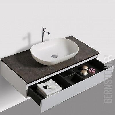 Badmöbel Vision 100 cm Weiß Spiegel Aufsatzwaschbecken Unterschrank Waschtisch