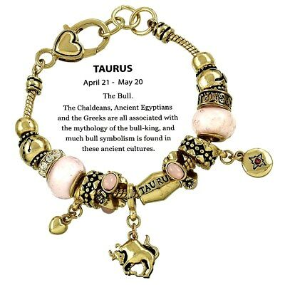 Zodiac Sign Taurus the Bull Horoscope Bracelet Gold Plated Fast Shipping
