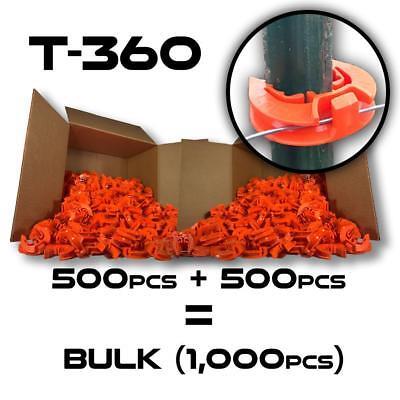 Lockjawz - Orange - T-360 Electric Fence Insulators. Line Corner Post 1000 Pk