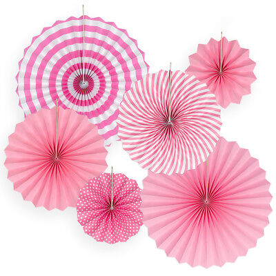 6pk Hanging Paper Fans Rosettes Event Party Wedding Decorations Pom Pom Pink