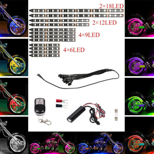 12pcs Motorcycle Multi-color Universal RGB 15 Colors LED Light Strips Kit IN USA