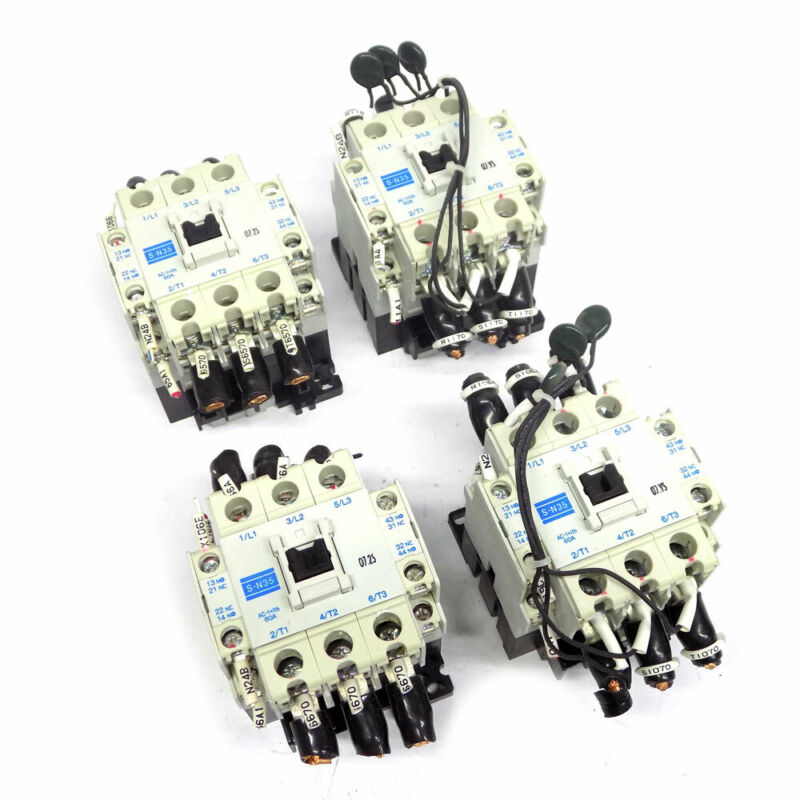(Lot of 4) Mitsubishi S-N35 3-Pole Magnetic Contactor w/ UN-SA21 Surge Absorbers