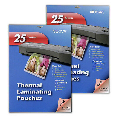 2 Pack - Nuova 5 Mil Thermal Laminating Pouches 5 X 7-inches Photo Size