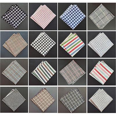 Handmade Men Checks Plaid Stripe Rolled Edge Cotton Pocket Square Handkerchief