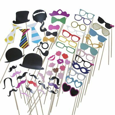 58 Piece Photo Booth Props DIY Kit Party Favor Dress Up Accessories - Accessories For Photo Booth