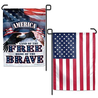 "LAND OF THE FREE HOME OF THE BRAVE 2-SIDED 12.5""X18"" GARDEN FLAG NEW WINCRAFT"