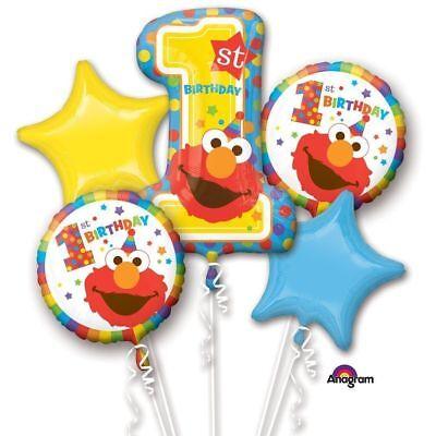 Sesame Street Elmo Happy 1st Birthday Party Supplies 5CT Foil Balloon Bouquet (Elmo 1st Birthday Supplies)