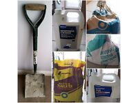 Lot job: shovel, cement, waterproofer & retarder, slablayer, waterproof PVA, bonding compound