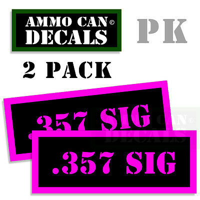 357 Sig Ammunition (357 SIG Ammo Can Decals Ammunition Ammo Can Labels 2 pack Vinyl PINK 3