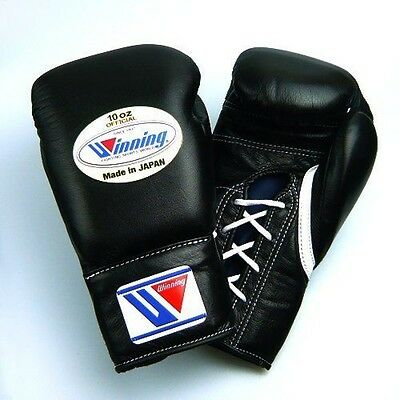 Winning Boxing Gloves MS-300 Black 10oz Pro Type Lace-up Design Fast Shipping