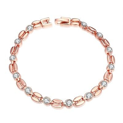 Damenarmband Zirkonia Kristall Schmuck Armband Kette Damen Rose Gold sehr fein
