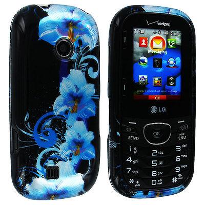 Blue Flower Design Snap-On Hard Case Cover for LG Cosmos 2 (Blue Hard Case Snap)