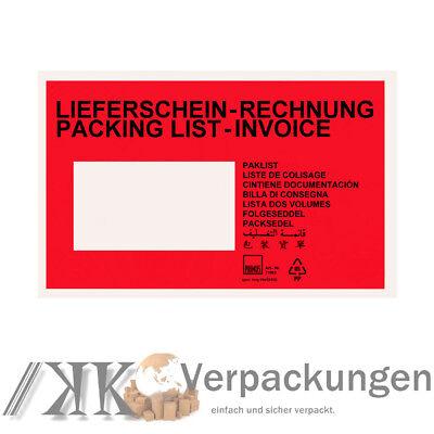 500 rot Lieferscheintaschen Din C6 Begleitpapiertaschen Begleitpapier-hüllen