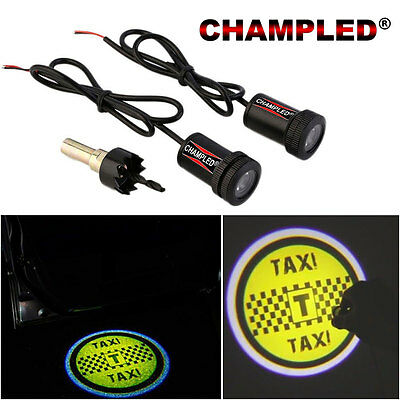 Champled For Taxi Led Door Projector Logo Shadow Car Tuning Lights Emblem