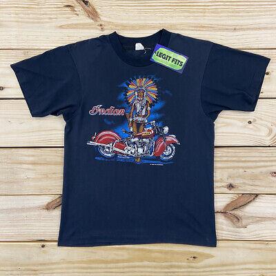 Vintage INDIAN MOTORCYCLES T Shirt Black Medium Black 1980s Screen Stars USA