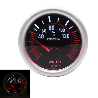"2"" 52mm White LED Water Temperature Temp Gauge Meter with Sensor Smoke Face Tint"