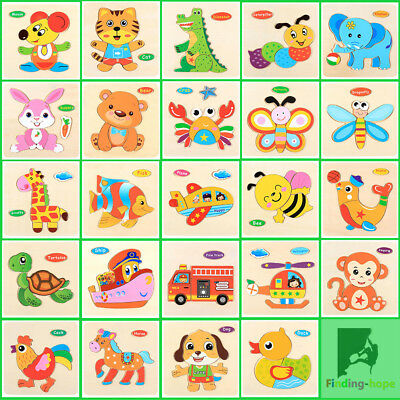 Animals Wooden Blocks Toddler Baby Kids Child Educational Toy Puzzle 3D (Toddler Animals)