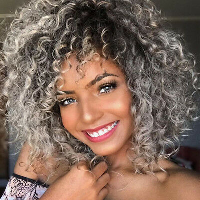Synthetic Short Afro Curly Wig Full Ombre Grey Wig with Bangs for Black Women US (Short Black Wig With Bangs)