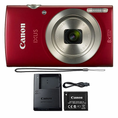 Canon IXUS 185 / ELPH 180 20MP Compact Digital Camera Red 20.0 MP 16X Zoom for sale  Shipping to India