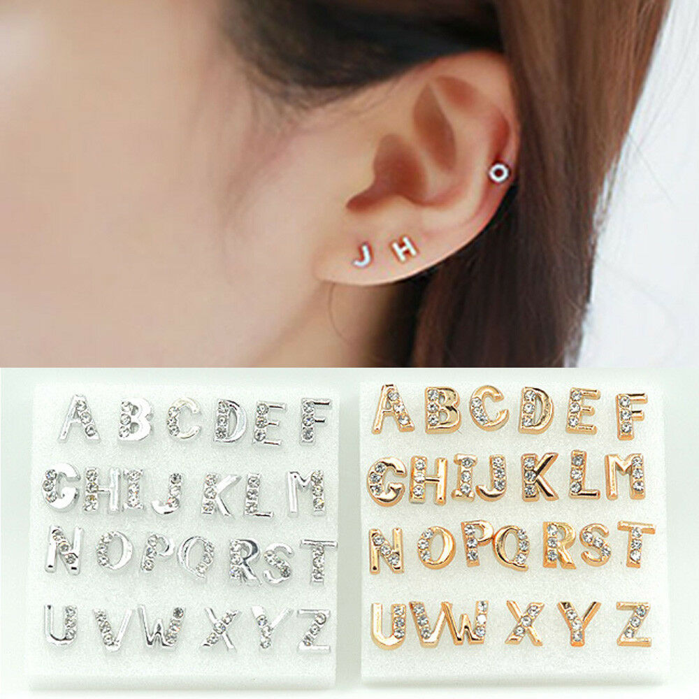 0cefc443d Creative A-Z 26 Initials Gold & Silver Crystal Letter Stud Earrings Women  Gifts