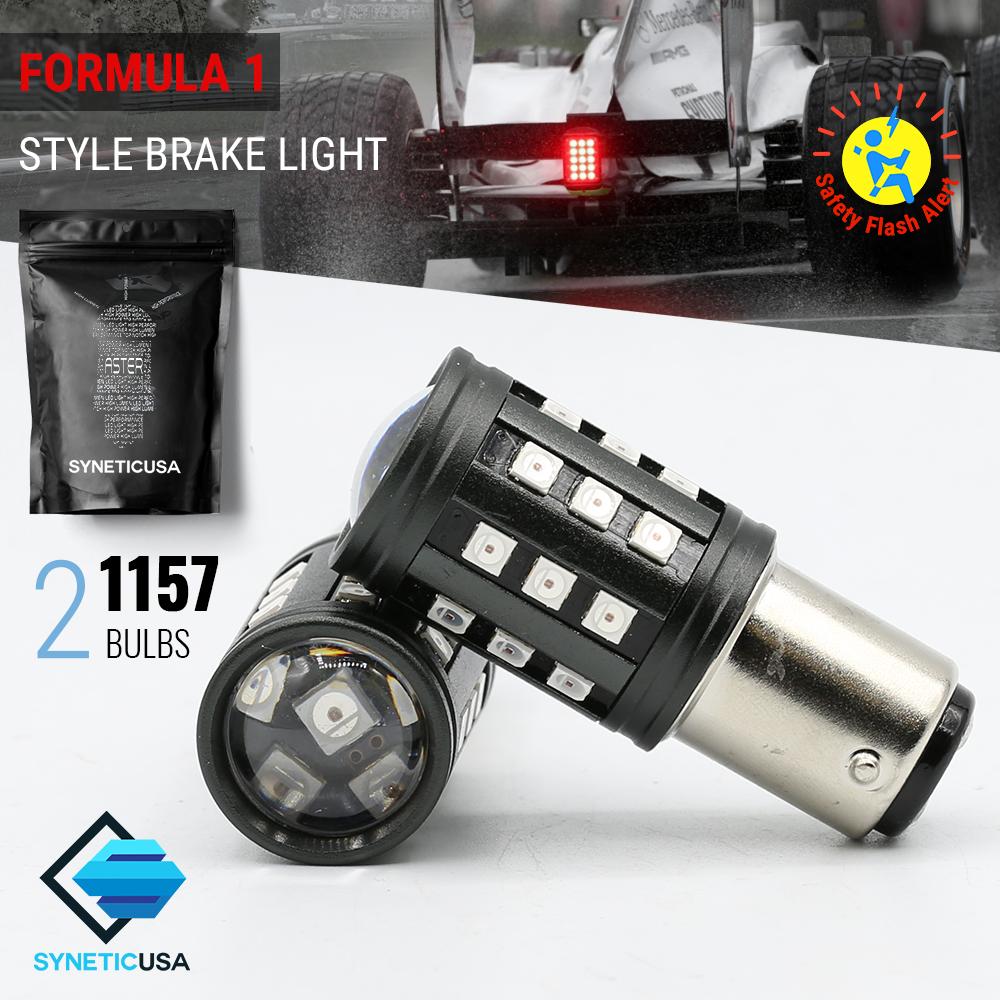 Rear Brake Tail light 1157 Flashing//Strobe RED Brake light Safety 3157, 7443, 1157 2 Bulbs
