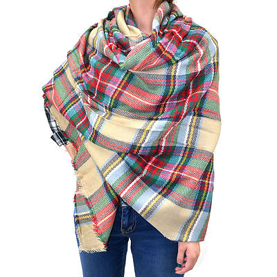 "60"" Large Square Plaids & Checks Tartan Scarf Shawl Wrap Blanket Cozy USA"