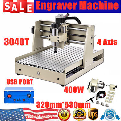 Router 4 Axis 3040 Pcb Wood Milling Engraving Drill Machine Cutter 400w Usb Port