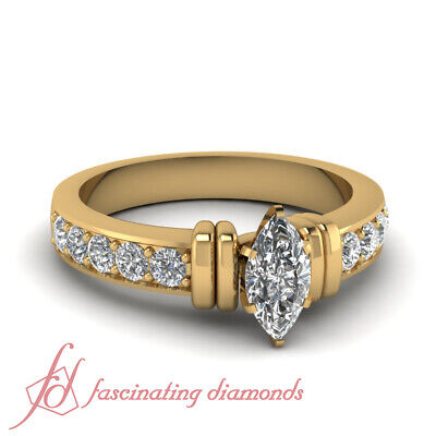 1.5 Carat Yellow Gold Marquise Cut Diamond Rings Pave Set With Round Accents GIA