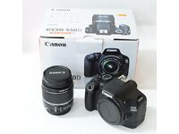 Canon 550D with 18-55mm kit lens and extras.