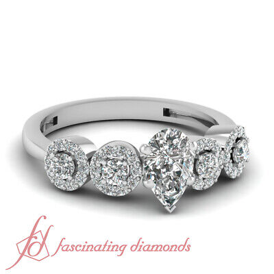 Pave Set 1.10 Ct Pear Shaped Diamond Engagement Ring VS1-D Color GIA Certified