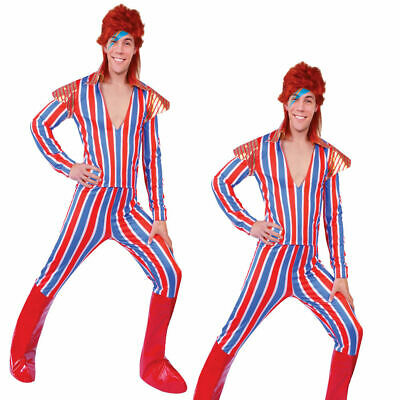 David Bowie Costumes (Mens Ziggy Stardust Costume David Bowie Mens Adults 70s 80s Fancy Dress)