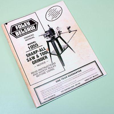 Belsaw 1055 Sharp All Saw Tool Grinder Owners Operators Repair Parts List Manual
