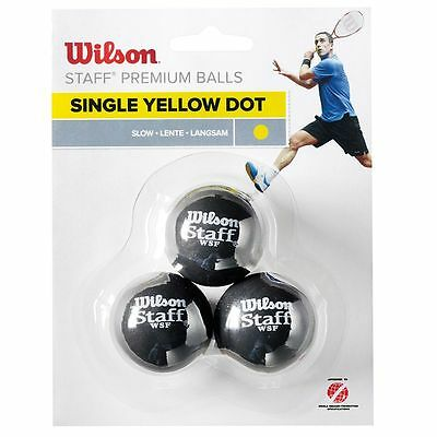 Wilson Staff Single Yellow Dot Squash Balls - Pack of 3