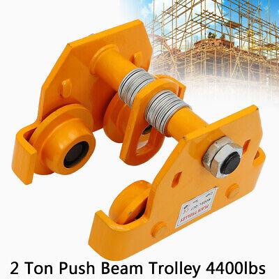 2ton Steel I-beam Track Push Beam Track Roller Trolley For Garage Hoist 4400 Lbs