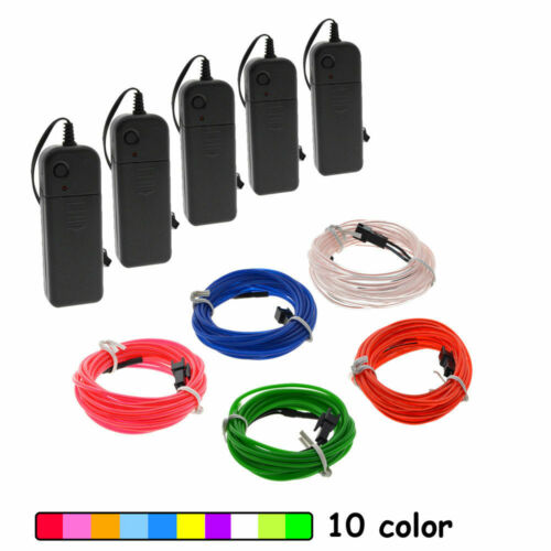 LED EL Wire Neon Glow String Strip Light Rope Controller Car