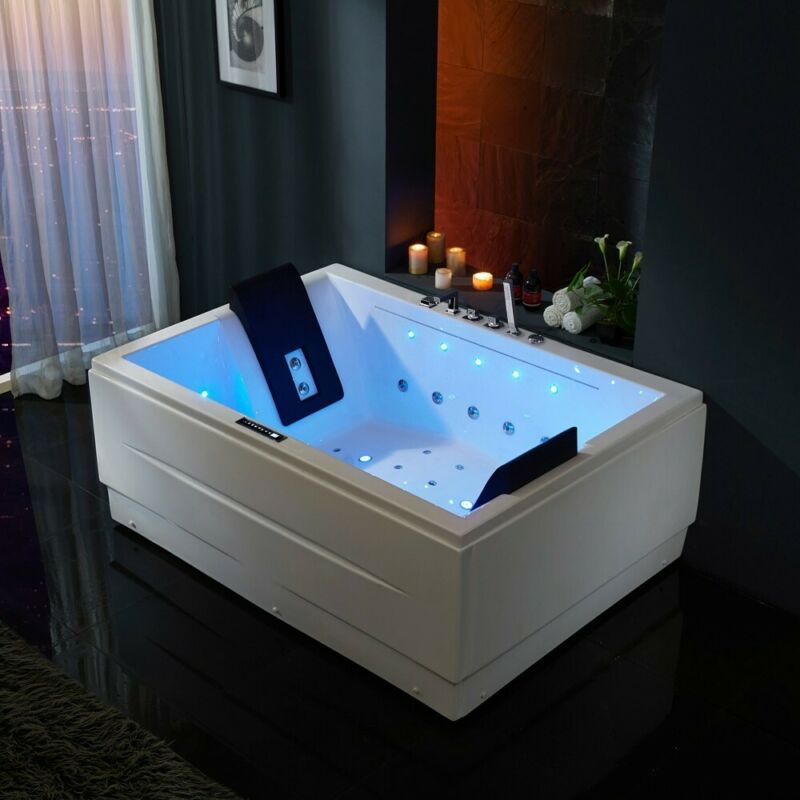 71 Inch Acrylic Whirlpool&Air Jets Massage Corner Bathtub with LED Chromatherapy