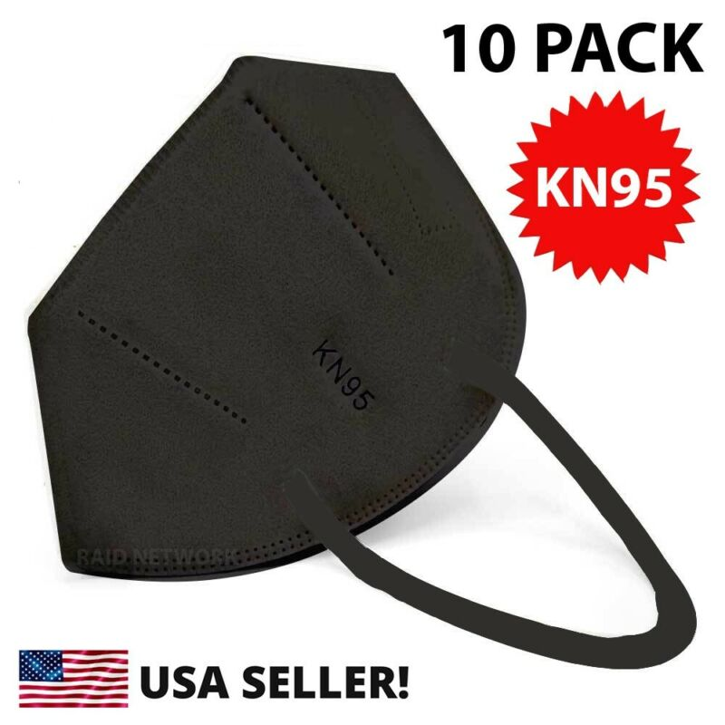 10 Pack Kn95 Black Face Mask Cover Protection Respirator Masks Kn 95 5-layer