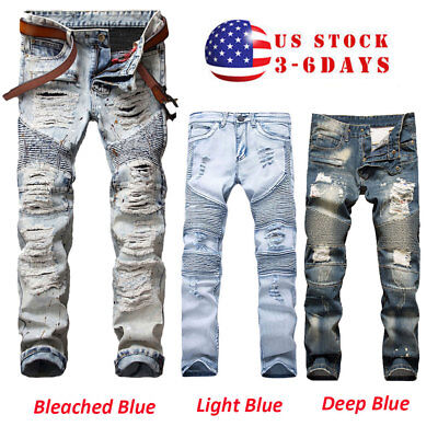 Men's Stretchy Ripped Skinny Biker Jeans Destroyed Tapered Slim Fit Denim Pants