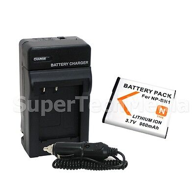 Rechargeable Battery+Charger Combo Kit For Sony NP-BN1 NPBN1 Cyber Shot DSC-W650