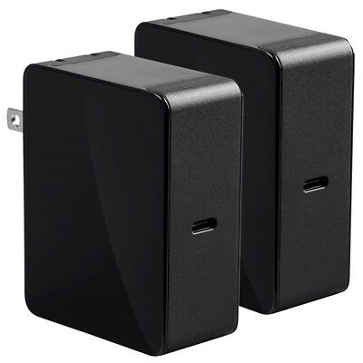 2x USB-C Type C Wall Power Charger 45W Portable Travel Smartphone Mac Charging