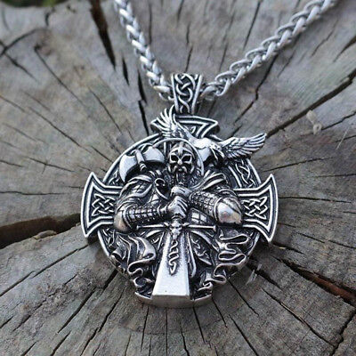 Odin Sword (Norse Viking Odin With Sword Raven Cross Pendant Necklace Stainless Steel)