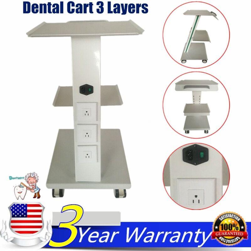 Dental Metal Built-in Socket Tool Cart Mobile Cart Trolley Cart 3 layers US New