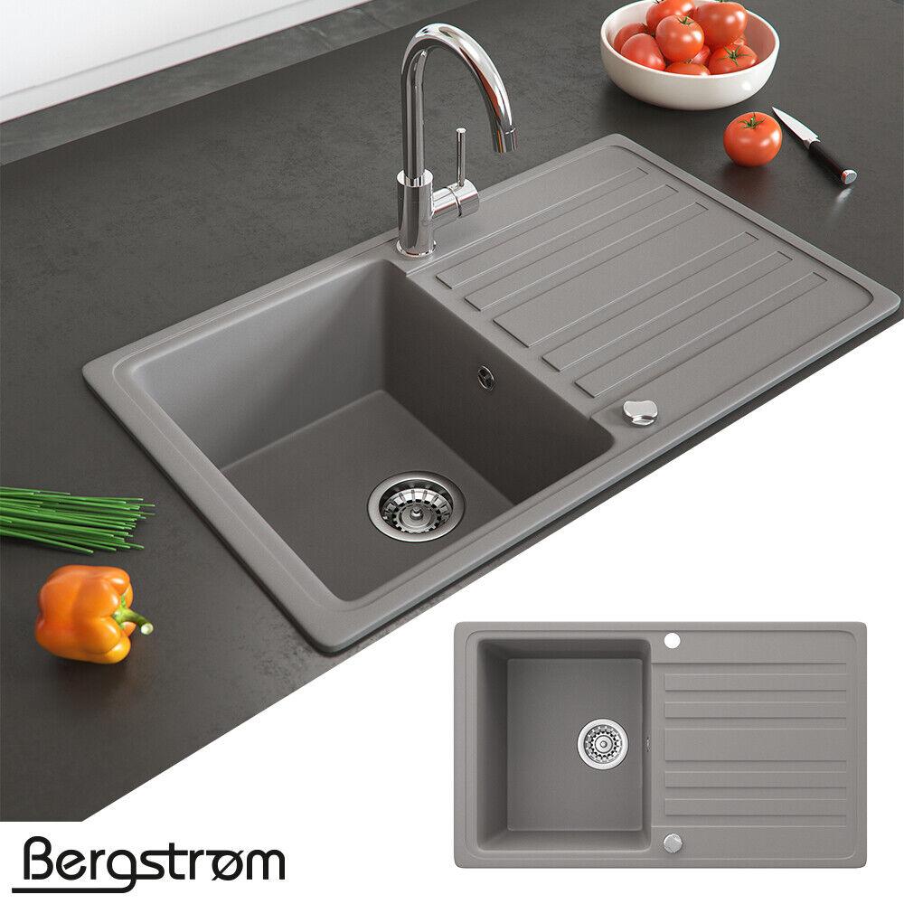 Bergström Granit Spüle Küchenspüle Einbauspüle Spülbecken 765x460mm Farbasuwahl Beton