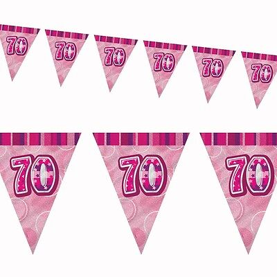 9ft Pink Sparkle Happy 70th Birthday Pennant Flag Banner Party - 70th Birthday Banner