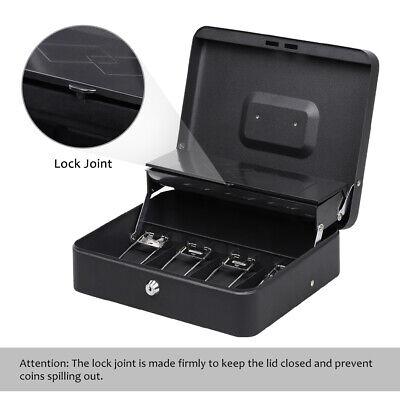 Portable Sturdy Metal Cashmoney Box Organiser 5 Coin Trays2keyslocksafety