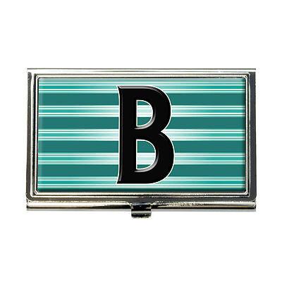 Letter B Initial Black Teal Stripes Business Credit Card Holder Case