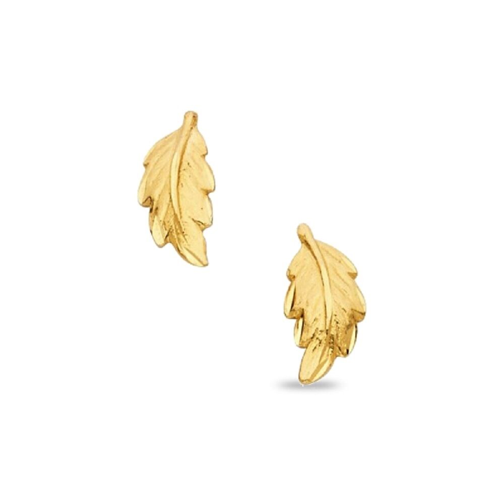 Dolphin Stud Earrings Solid 14k Yellow Gold Fish Studs Diamond Cut Polished
